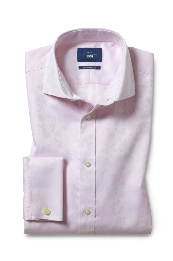 Tailored Fit Pink Floral Jacquard Double Cuff Shirt