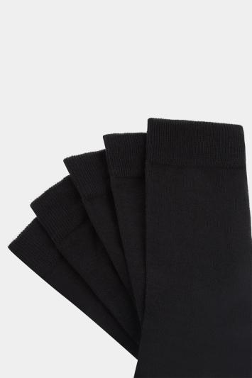 Moss 1851 Black 5 Pack Cotton Blend Socks