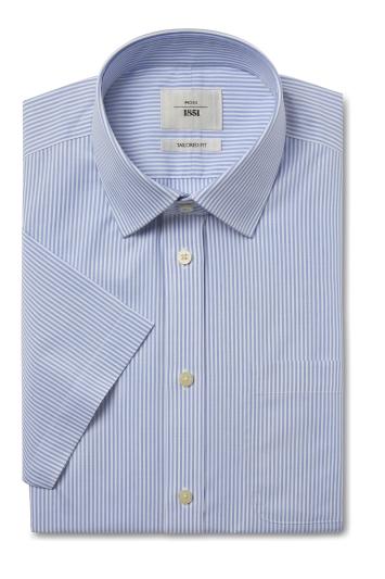 Moss 1851 Tailored Fit Blue Short Sleeve Stripe Zero Iron Shirt