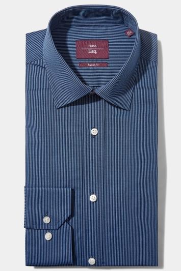 Moss Esq. Regular Fit Blue Single Cuff Stripe Non Iron Shirt