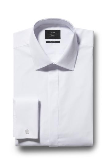 Regular Fit White Double Cuff Dress Shirt