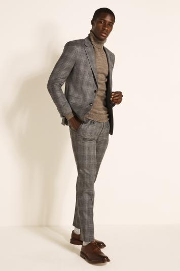 Guabello Slim Fit Grey Camel Check Jacket