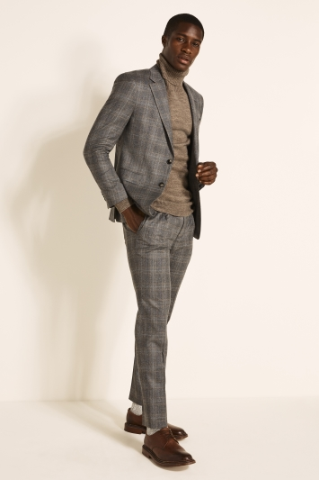 Slim Fit Grey Camel Check Jacket