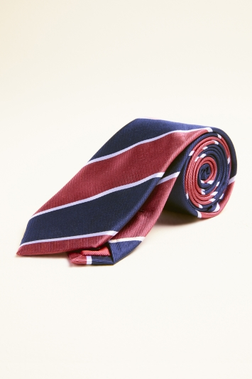 Navy & Red Club Stripe Silk Tie