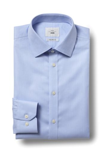 Tailored Fit Sky Herringbone Zero Iron Shirt