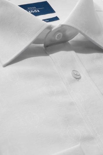 Moss 1851 Tailored Fit White Single Cuff Jacquard Non Iron Shirt