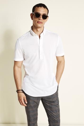 Tailored Fit Ecru Short Sleeve Popover Shirt