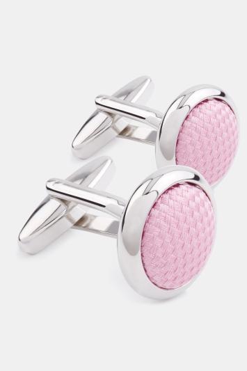 Silver with Pink Silk Cufflink