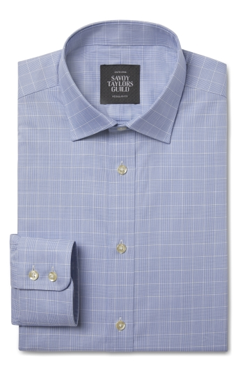 Savoy Taylors Guild Regular Fit Blue Single Cuff Check Shirt