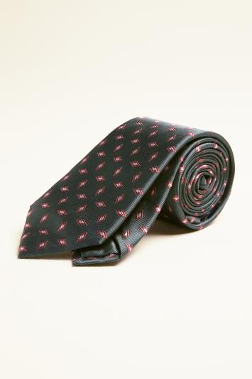 Sage with Coral Diamond Silk Tie