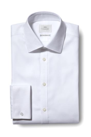 Moss London Premium Extra Slim Fit White Double Cuff Textured Zero Iron Shirt