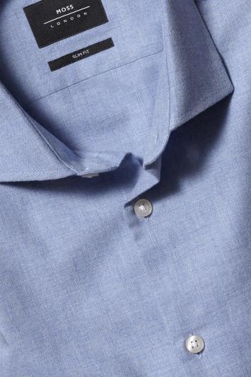 Moss London Slim Fit Sky Brushed Single Cuff Shirt