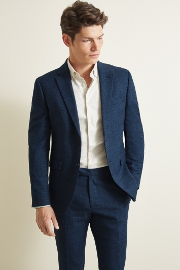 Moss London Slim Fit Navy Puppytooth Jacket