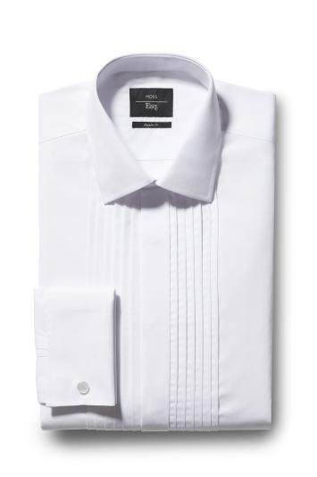 Moss Esq. Regular Fit White Double Cuff Pleat Dress Shirt