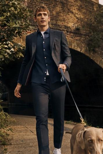 Moss London Slim Fit Navy Pink Check Jacket