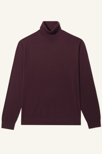 Moss Bros Burgundy Merino-Blend Roll-Neck Jumper