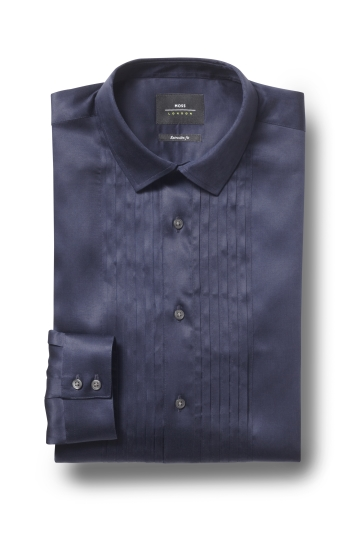 Moss London Premium Extra Slim Fit Navy Single Cuff Pleated Dress S...