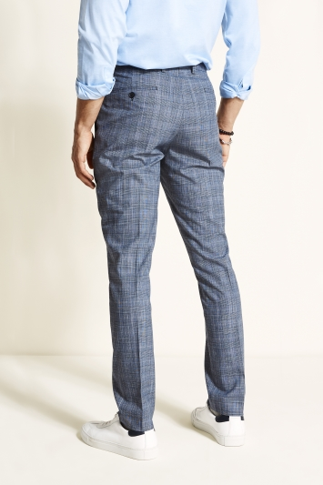 Moss 1851 Tailored Fit Faded Blue Check Trousers