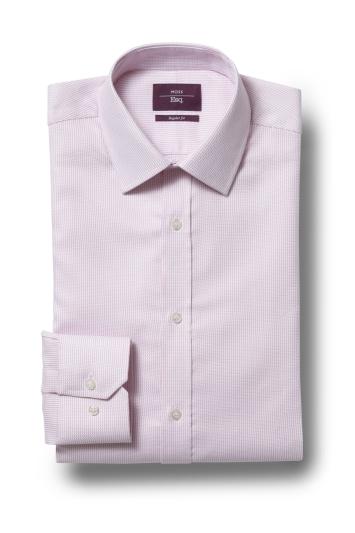 Moss Esq. Regular Fit Pink Single Cuff Dobby Non Iron Shirt