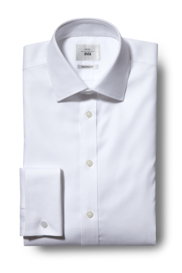 Tailored Fit White Double Cuff Textured Zero Iron Shirt