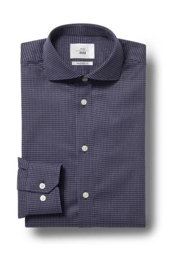Moss 1851 Tailored Fit Navy Single Cuff Dobby Zero Iron Shirt