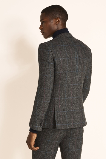 Moss London Slim Fit Charcoal & Teal With Pink Overcheck Jacket