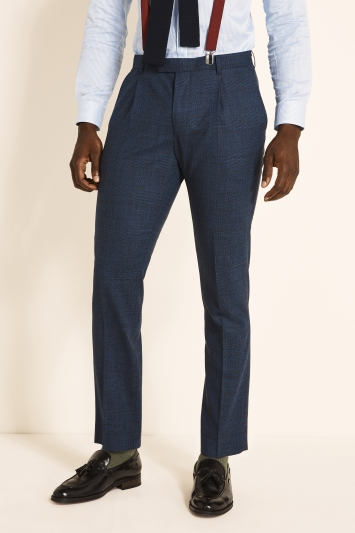 Moss London Guabello Slim Fit Navy Rust Check Jacket