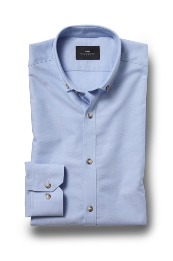 Moss London Skinny Fit Sky Single Cuff Oxford Button Down Shirt