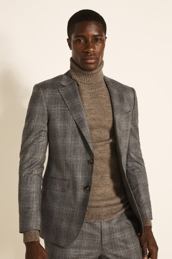 Moss London Guabello Slim Fit Grey Camel Check Jacket