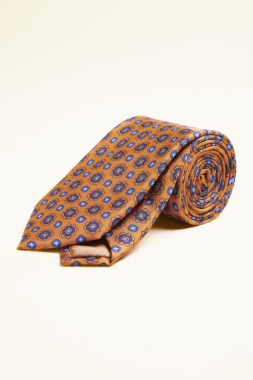 Orange with Blue Medallion Print Silk Tie