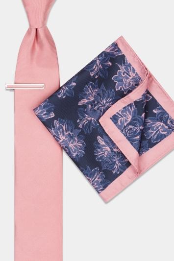 Pink Floral Tie, Hank & Tie Bar Set