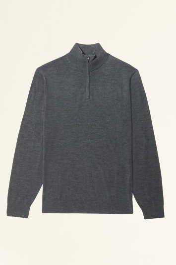 Moss Bros Charcoal Merino-Blend Zip-Neck Jumper