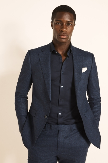 Moss London Guabello Slim Fit Royal Blue Flannel Jacket