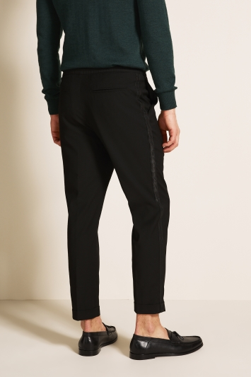 Moss London Slim Fit Black with Brocade Side Stripe Cropped Trousers