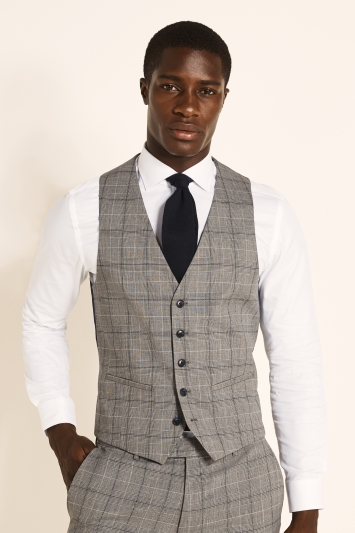 Moss 1851 Slim Fit Grey Navy Prince of Wales Check Waistcoat