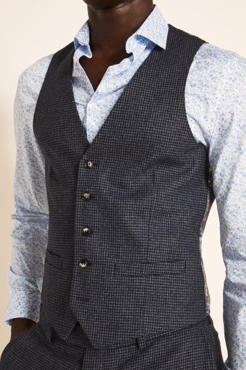 Moss London Slim Fit Navy Charcoal Puppytooth Tweed Waistcoat