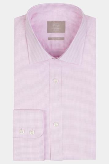Savoy Taylors Guild Regular Fit Pink Single Cuff Puppytooth Shirt
