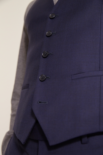 Slim Fit Navy Panama Waistcoat