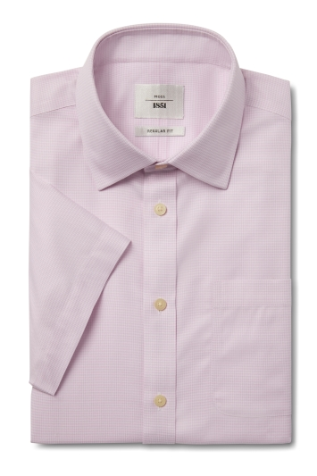 Moss 1851 Regular Fit Pink Short Sleeve Puppytooth Zero Iron Shirt
