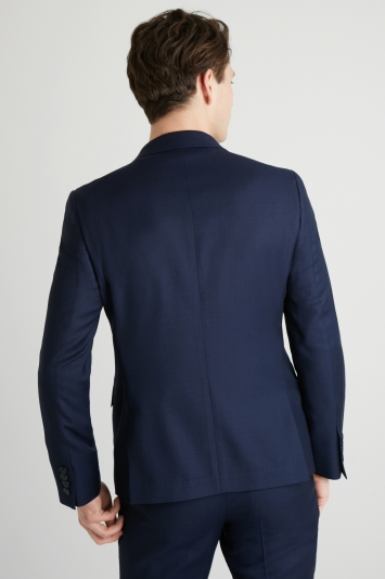 DKNY Slim Fit Navy Panama Openweave Double Breasted Jacket