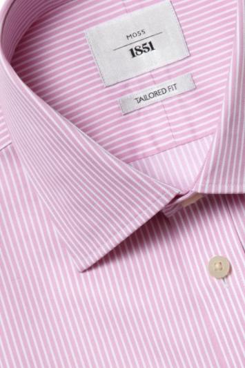 Moss 1851 Tailored Fit Pink Single Cuff Dobby Stripe Zero Iron Shirt