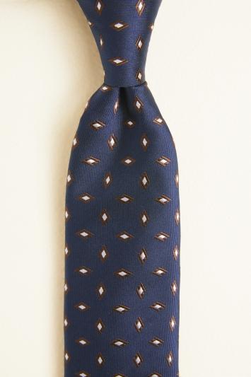 Navy with Brown Diamond Silk Tie