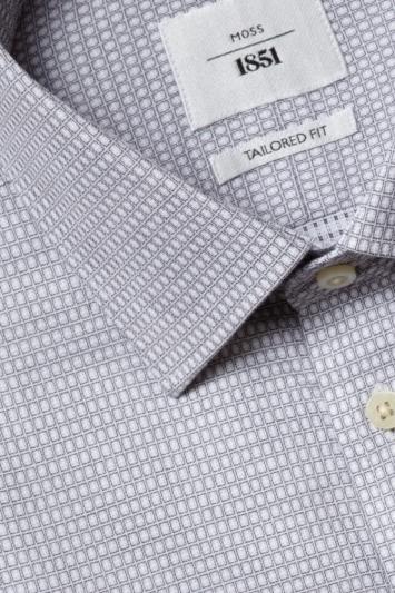 Moss 1851 Tailored Fit Grey Single Cuff Square Dobby Zero Iron Shirt