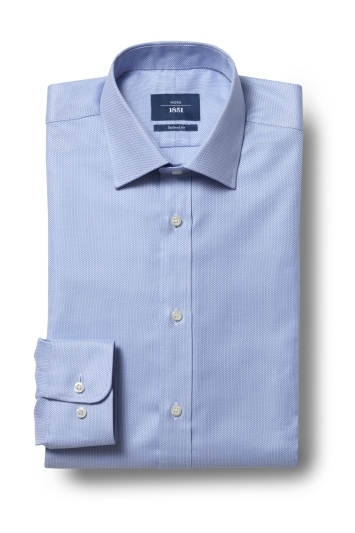 Tailored Fit Sky Egyptian Cotton Textured Shirt