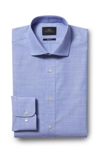 Moss London Premium Extra Slim Fit Blue Single Cuff Plain Shirt