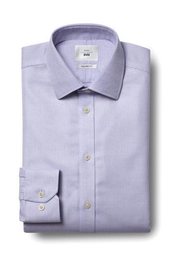Moss 1851 Tailored Fit Lilac Single Cuff Puppytooth Texture Zero Iron Shirt