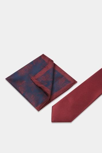 Wine Floral Tie, Hank & Tie Bar Set