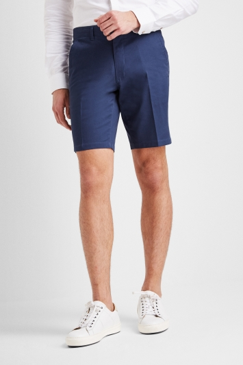 Moss 1851 Tailored Fit Admiral Blue Stretch Chino Shorts