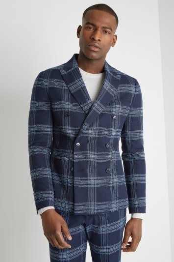 Moss London Slim Fit Blue Boucle Lightweight Double Breasted Jacket