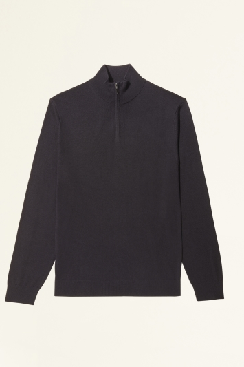 Moss Bros Navy Merino-Blend Zip-Neck Jumper